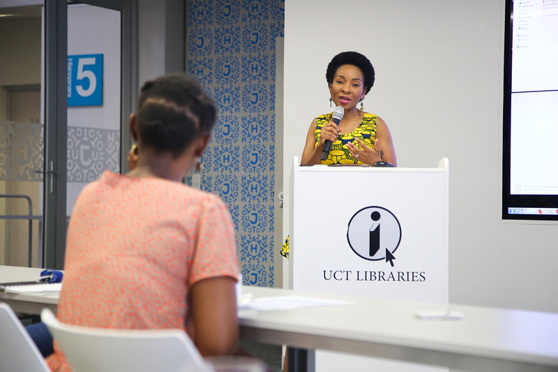 VC Prof Mamokgethi Phakeng welcomes participants at the start of UCT Libraries' Open Data Day.